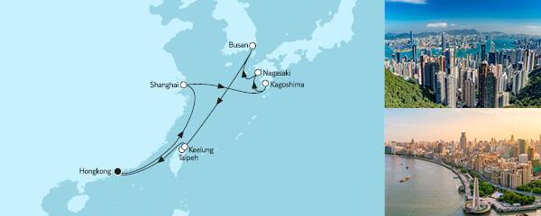Routenverlauf Hongkong mit Japan am 24.03.2021