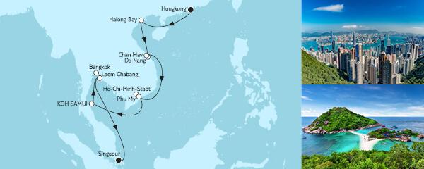 Routenverlauf Hongkong bis Singapur I am 30.12.2020