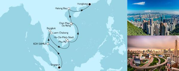 Routengrafik Singapur bis Hongkong