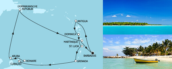 Routengrafik Karibische Inseln II