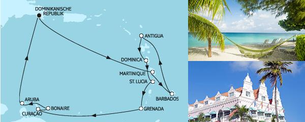 Routenverlauf Karibische Inseln I am 01.01.2021