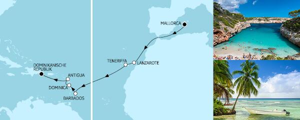 14 Tage Mallorca bis Dominikanische Republik mit der Mein Schiff 2