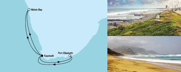 Routenverlauf Südafrika mit Namibia I am 01.12.2021