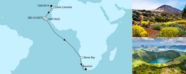 Routenverlauf Teneriffa bis Kapstadt am 11.11.2021