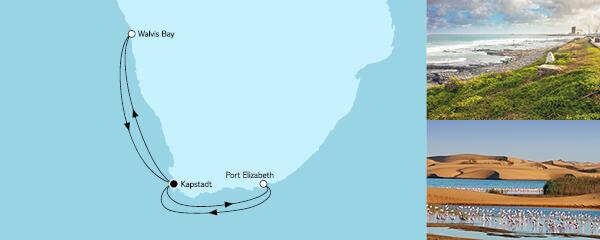Routenverlauf Südafrika mit Namibia II am 22.12.2021
