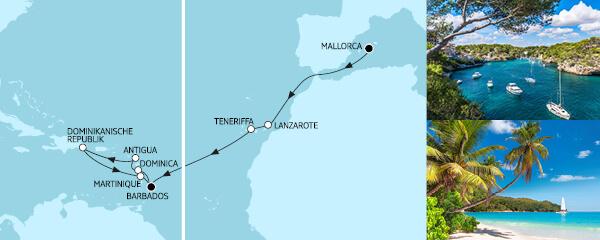 17 Tage Mallorca bis Barbados mit der Mein Schiff 2
