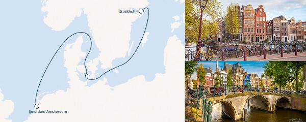 Routenverlauf Costa Von Amsterdam nach Stockholm