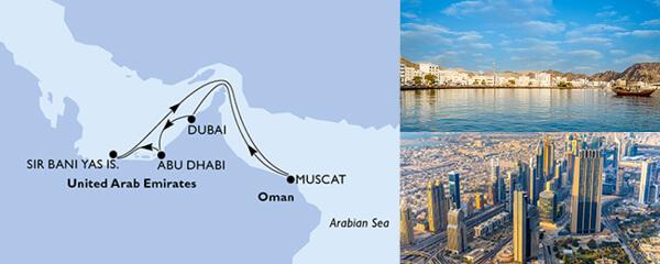 Routenverlauf MSC Dubai, Abu Dhabi & Qatar mit MSC Lirica