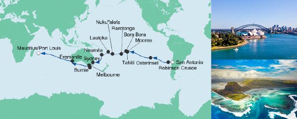 Routenverlauf Von San Antonio nach Mauritius am 01.12.2020