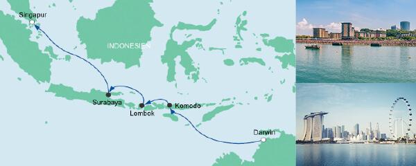 Routenverlauf Von Darwin nach Singapur am 04.03.2020