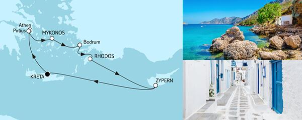 Routenverlauf Griechenland mit Zypern am 31.03.2021