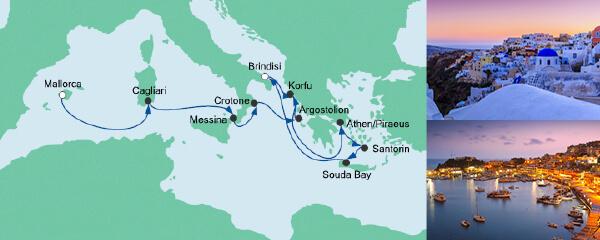 Routenverlauf Von Mallorca nach Korfu 2 am 28.04.2020
