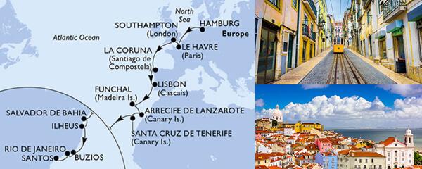 Routenverlauf MSC MSC Grand Voyages mit MSC Preziosa
