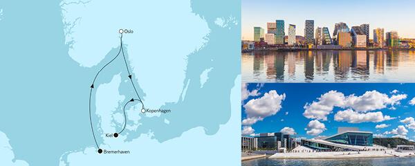 Routenverlauf Kurzreise mit Oslo & Kopenhagen I am 12.05.2021