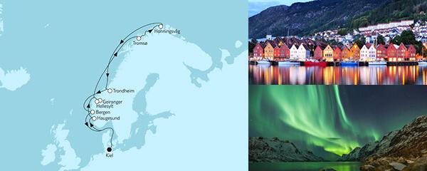 Routenverlauf Norwegen mit Nordkap I am 24.05.2021