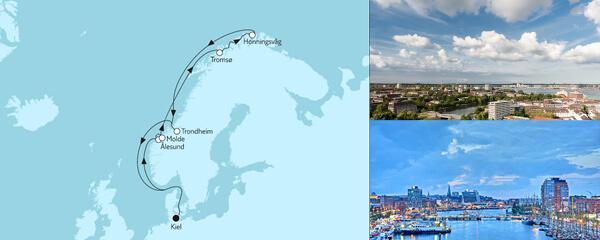 Routenverlauf Norwegen mit Nordkap II am 06.06.2021