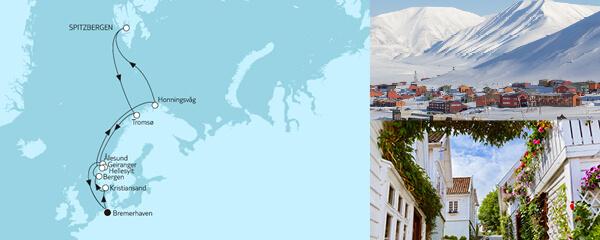 Routenverlauf Norwegen mit Spitzbergen I am 07.06.2021
