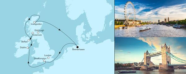 Routengrafik Großbritannien mit Dublin I