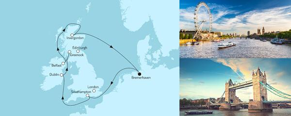 Routenverlauf Großbritannien mit Dublin II am 16.05.2021