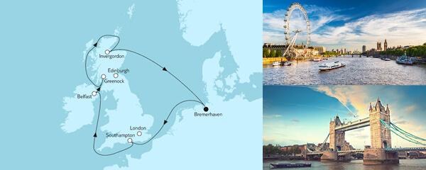 Routenverlauf Großbritannien mit Belfast am 10.08.2021