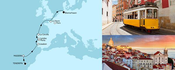 Routenverlauf Teneriffa bis Bremerhaven am 01.04.2021