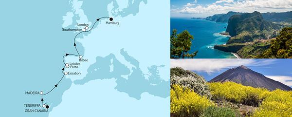 Routenverlauf Gran Canaria bis Hamburg am 11.04.2021
