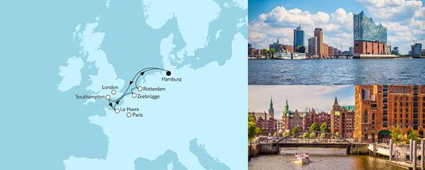 Routengrafik Westeuropa mit Rotterdam I