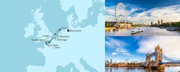 Routenverlauf Westeuropa mit Rotterdam II am 20.08.2021