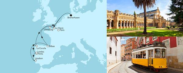 Routenverlauf Westeuropa mit Lissabon am 03.08.2021