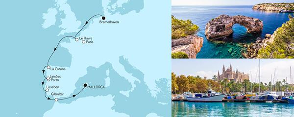 Routenverlauf Bremerhaven bis Mallorca II am 07.10.2021