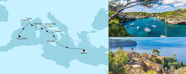 Routenverlauf Griechenland ab Mallorca am 07.04.2021
