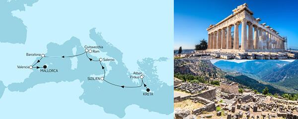 Routenverlauf Kreta bis Mallorca I am 09.04.2021