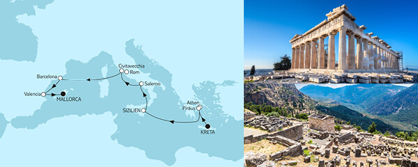 Routengrafik Kreta bis Mallorca I