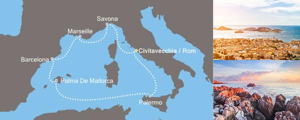 Routenverlauf Costa Zauberhaftes Mittelmeer