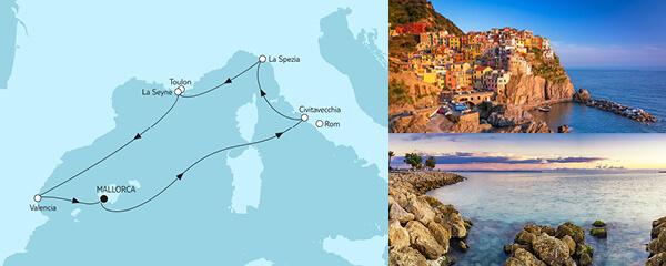 Routengrafik Mittelmeer mit Valencia II