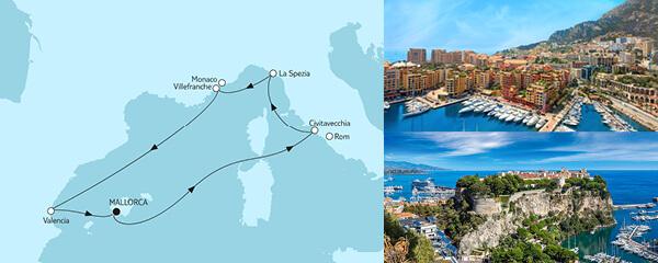 Routenverlauf Mittelmeer mit Valencia III am 09.05.2021