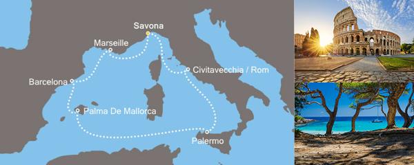 Routenverlauf Zauberhaftes Mittelmeer am 23.03.2019