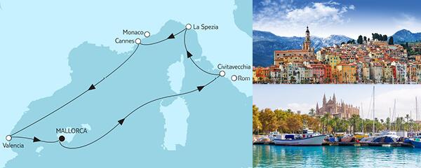 Routengrafik Mittelmeer mit Valencia IV
