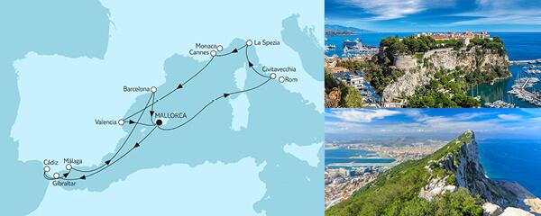 Routengrafik Mittelmeer mit Valencia & Andalusien III