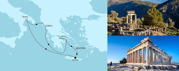 Routengrafik Griechenland mit Korfu