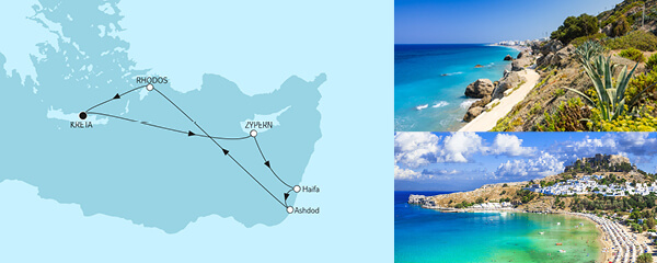 Routengrafik Griechenland mit Zypern