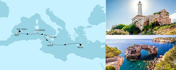 Routenverlauf Kreta bis Mallorca II am 07.05.2021