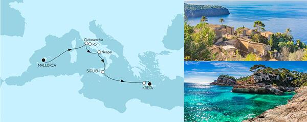 Routenverlauf Mallorca bis Kreta am 04.06.2021