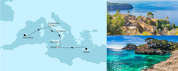 Routenverlauf Kreta bis Mallorca III am 22.10.2021