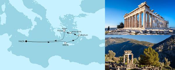 Routenverlauf Griechenland ab Malta am 10.10.2021