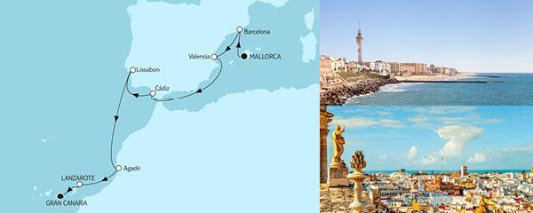 Routenverlauf Mallorca bis Gran Canaria am 27.10.2021