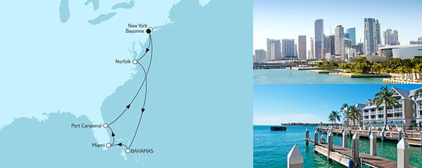 Routenverlauf New York mit Bahamas am 19.10.2021
