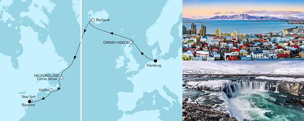 Routenverlauf Hamburg bis New York am 10.09.2021