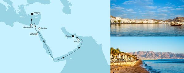 15 Tage Östliches Mittelmeer bis Dubai mit der Mein Schiff 6