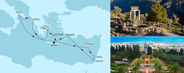 Routenverlauf Griechenland mit Korfu & Zypern am 16.04.2021